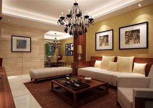 详细的现代住宅室内客厅装饰3d模型