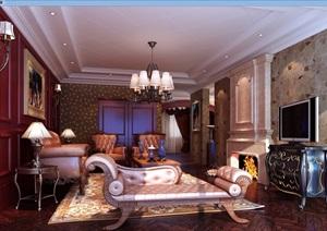 欧式详细的住宅室内客厅装饰设计3d模型及效果图