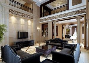 详细的完整别墅客厅空间装饰设计3d模型及效果图