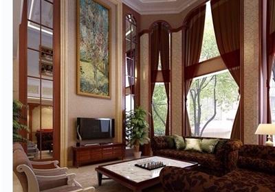 住宅简欧风格客餐厅空间装饰设计3d模型及效果图