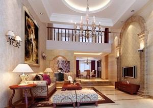 现代详细的完整住宅室内客厅装饰设计3d模型及效果图