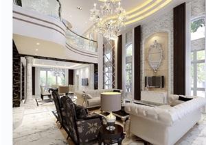 欧式详细的完整住宅室内客厅装饰设计3d模型及效果图