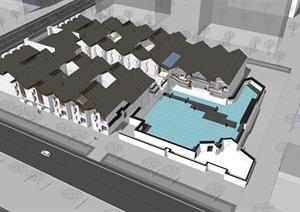 中式新中式博物館展示館建筑設計SU(草圖大師)模型