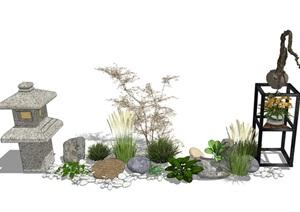 新中式庭院小品 景观小品 石头 植物SU(草图大师)模型
