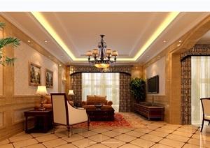详细的住宅完整欧式客厅装饰设计3d模型及效果图