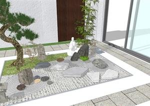 日式 庭院小品 景觀小品 休閑椅 石頭 植物SU(草圖大師)模型