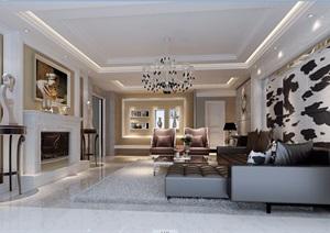 详细的欧式住宅室内客厅装饰设计3d模型及效果图