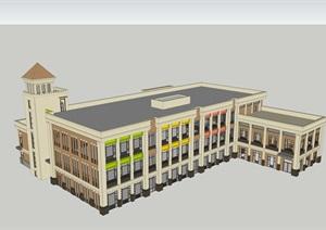 簡約歐式幼兒園游樂園建筑設計SU(草圖大師)模型