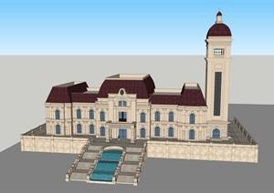 精致歐式會所宮殿售樓處辦公樓建筑設計SU(草圖大師)模型