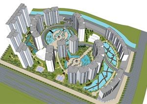 现代小区精致景观规划设计SU(草图大师)模型