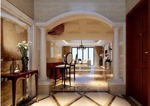 欧式详细的完整客厅装饰设计3d模型及效果图