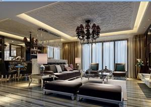 详细的完整住宅室内客厅装饰设计3d模型