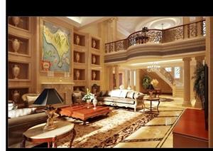 详细的完整客厅空间装饰设计3d模型及效果图