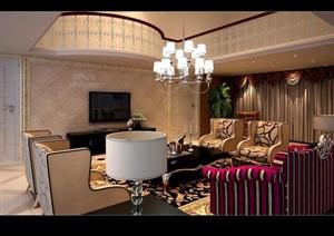 住宅详细欧式跃层客厅空间装饰3d模型