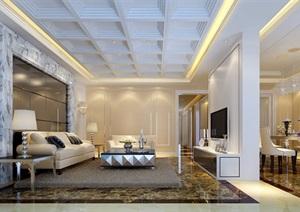 住宅详细的整体完整住宅客厅设计3d模型及效果图