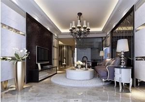 详细的完整住宅室内客厅装饰设计3d模型及效果图