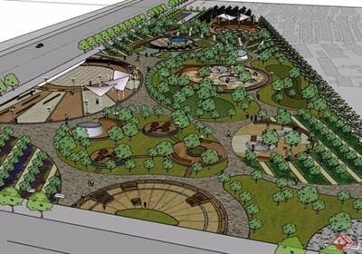 详细的完整公园景观设计su模型