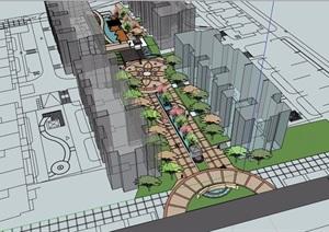住宅详细的小区中庭景观设计SU(草图大师)模型