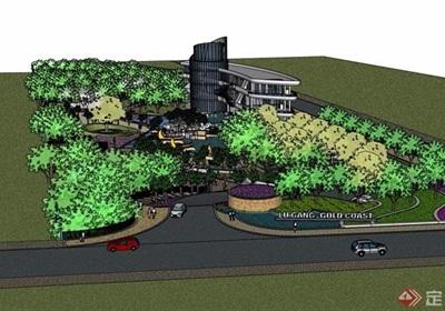 现代详细的度假酒店建筑及景观设计su模型