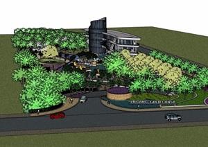 现代详细的度假酒店建筑及景观设计SU(草图大师)模型