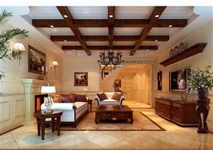 住宅详细的完整室内客厅装饰设计3d模型及效果图