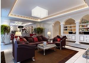 详细的完整欧式住宅室内客厅装饰设计3d模型及效果图
