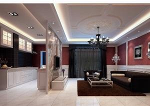 住宅详细的室内客厅装饰设计3d模型及效果图