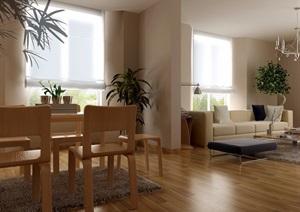 现代详细的完整住宅室内客厅装饰设计3d模型