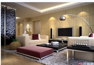 现代详细住宅室内客厅装饰设计3d模型及效果图