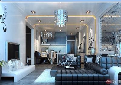 现代详细的住宅室内空间装饰3d模型及效果图