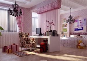 住宅详细的室内卧室装饰设计3d模型及效果图