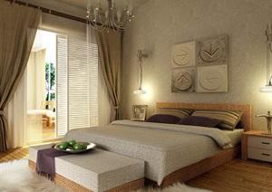 住宅整体完整的卧室设计3d模型及效果图
