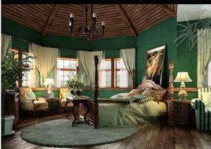 住宅详细的完整卧室空间装饰设计3d模型及效果图