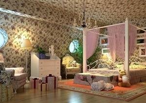 详细的美式风格住宅室内卧室装饰设计3d模型及效果图
