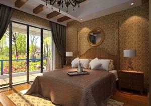 详细的欧式住宅卧室空间装饰设计3d模型及效果图