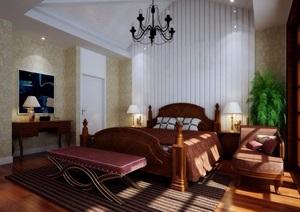 住宅详细的完整室内卧室装饰设计3d模型及效果图