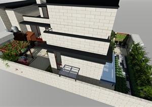 欧式庭院设计SU(草图大师)模型及效果图