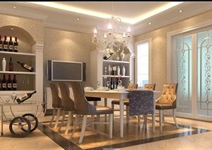 住宅详细的餐厅装饰室内3d模型及效果图