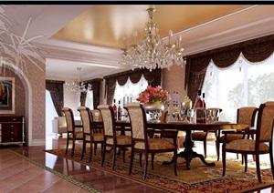 详细的住宅室内餐厅装饰设计3d模型及效果图