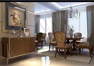 详细的完整餐饮餐厅空间设计3d模型及效果图