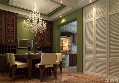 现代详细的室内餐厅装饰设计3d模型及效果图