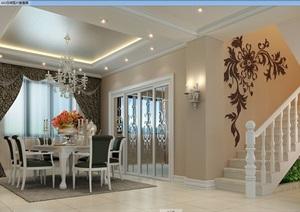 详细的完整欧式餐厅装饰设计3d模型及效果图