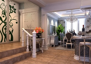 住宅详细的完整餐厅装饰设计3d模型及效果图