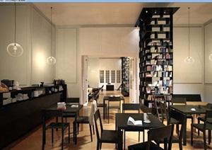 详细的室内图书馆空间场景设计3d模型及效果图