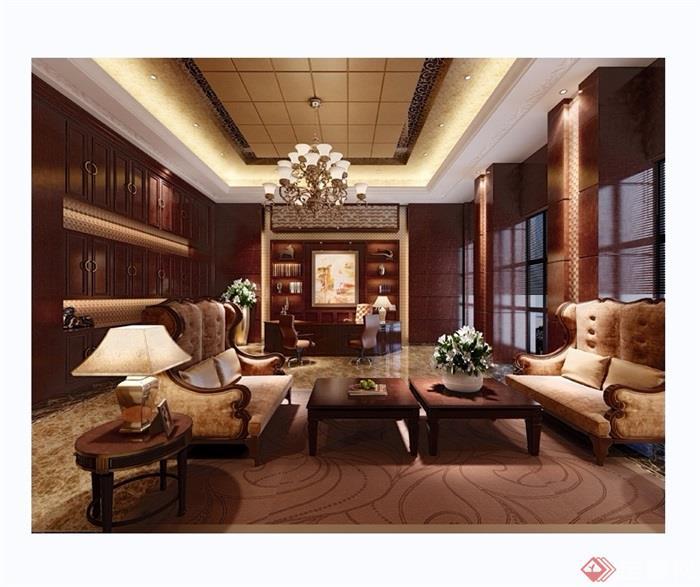 欧式详细的完整室内办公室装饰设计3d模型及效果图