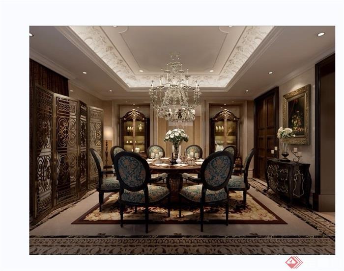 详细的欧式家装餐厅装饰3d模型及效果图