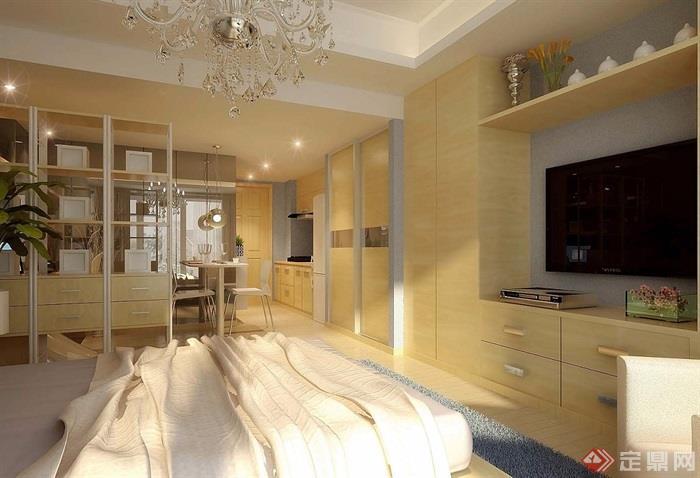 某详细的整体室内卧室地毯设计3d模型及效果图