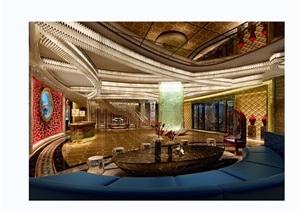 详细的完整酒店大堂空间装饰设计3d模型及效果图