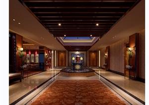 详细的酒店完整大厅空间设计3d模型及效果图