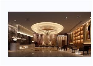 现代详细的酒店大厅空间装饰3d模型及效果图